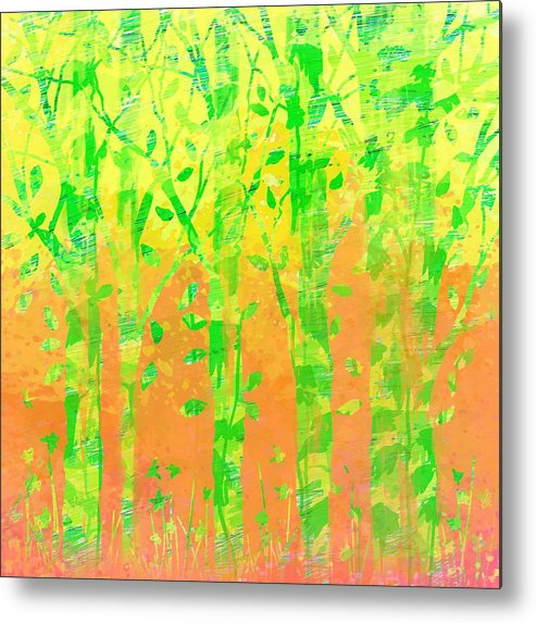 Abstract Metal Print featuring the digital art Trees in the Grass by William Russell Nowicki