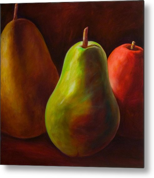 Fruit Metal Print featuring the painting Tri Pear by Shannon Grissom