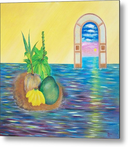 Still Life Metal Print featuring the painting Tropical Still Life by Tony Rodriguez