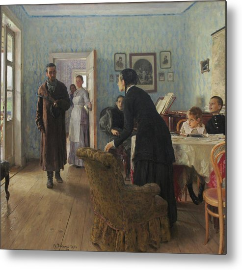 Ilya Repin Metal Print featuring the painting Unexpected Visitors by Ilya Repin