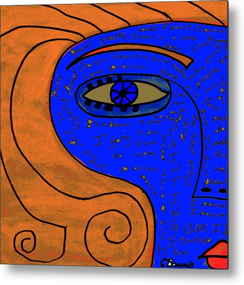 Woman Metal Print featuring the painting Unknown Words by Artist by C Baum
