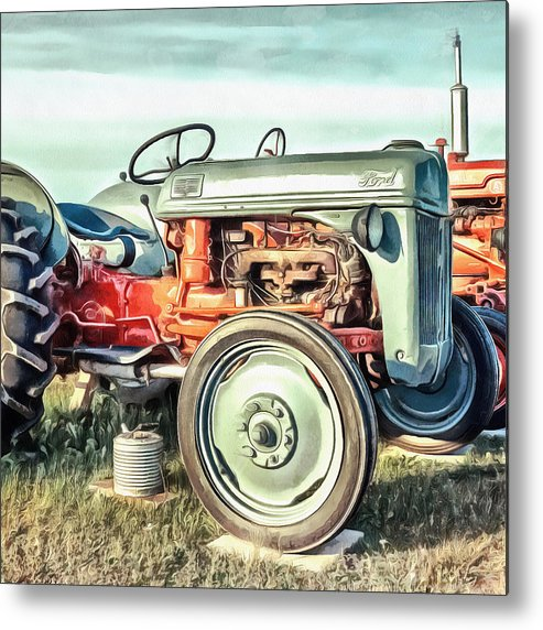 Painting Metal Print featuring the painting Vintage Tractors PEI Square by Edward Fielding