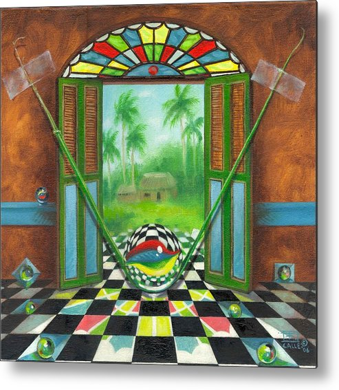 Marbles Metal Print featuring the painting Vitrales Campesino by Roger Calle