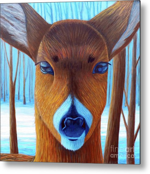 Deer Metal Print featuring the painting Wait For The Magic by Brian Commerford