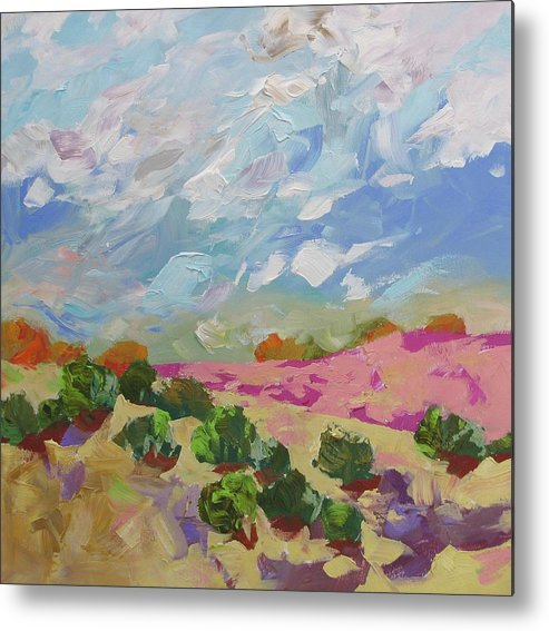 Painting Metal Print featuring the painting Walk With Me by Linda Monfort