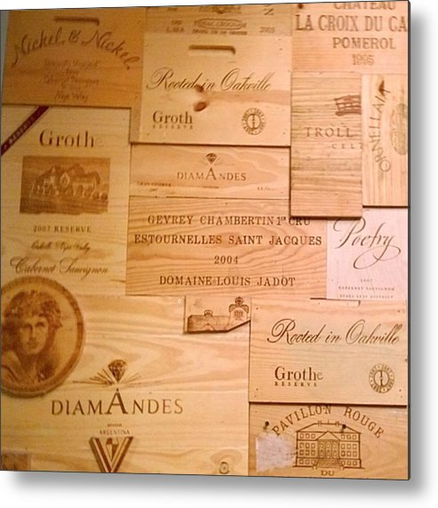 Decor Metal Print featuring the photograph Wall Decorated With Used Wine Crates by Shari Warren