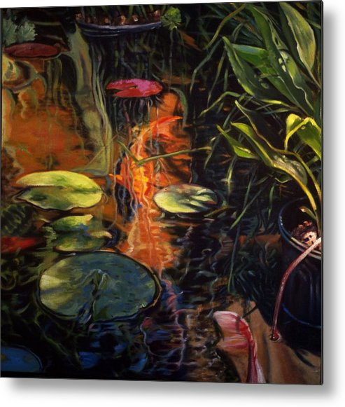 Water Garden Metal Print featuring the painting Water Garden Series A by Patricia Reed