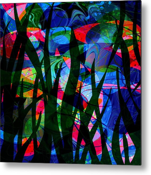 Abstract Metal Print featuring the digital art Watermelon and a Swim by William Russell Nowicki