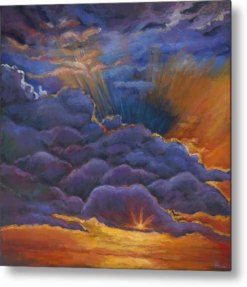 Cloudscapes Metal Print featuring the painting Welcome the Night by Johnathan Harris
