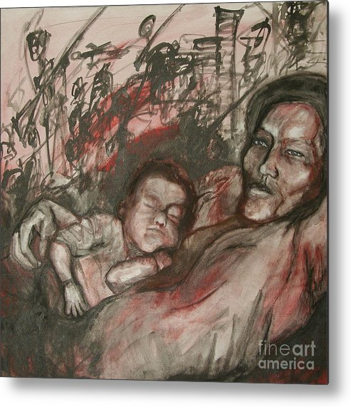 Child Metal Print featuring the painting What Matters by Sarah Goodbread