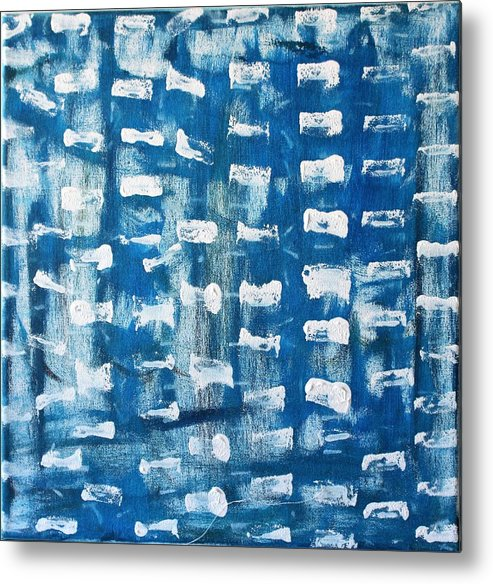 Blue Metal Print featuring the painting Whispering Pines by Pam Roth O'Mara