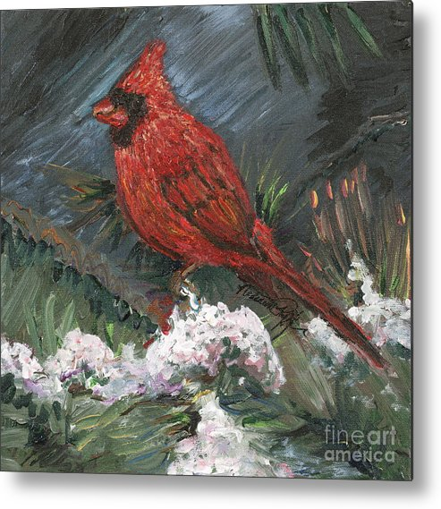Bird Metal Print featuring the painting Winter Cardinal by Nadine Rippelmeyer