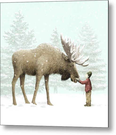 Moose Metal Print featuring the drawing Winter Moose by Eric Fan
