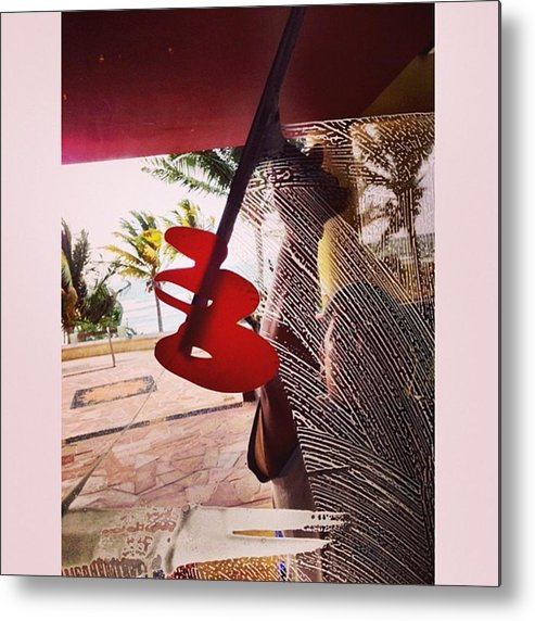 Metal Print featuring the photograph Woman Cleaning Glass Door, Riviera by Juan Silva