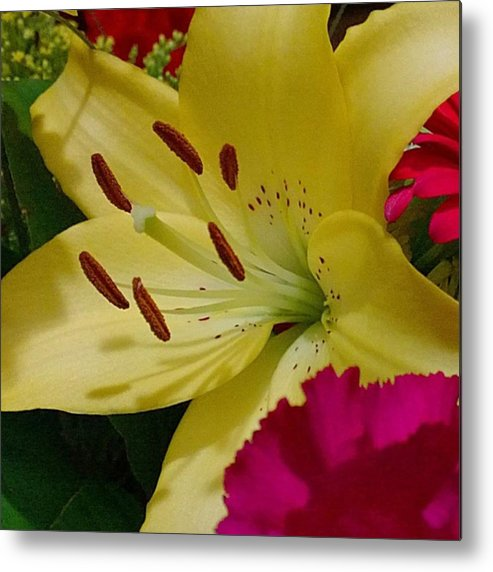Plants Metal Print featuring the photograph #yellow #lily Detail. Love The Pollen by Shari Warren