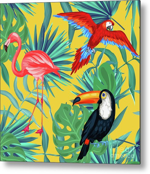 Parrot Metal Print featuring the digital art Yellow Tropic by Mark Ashkenazi