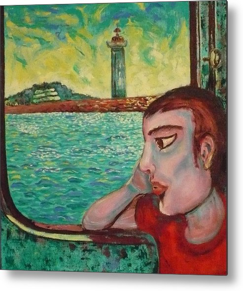 Window Metal Print featuring the painting Young Man In A Window by Ericka Herazo