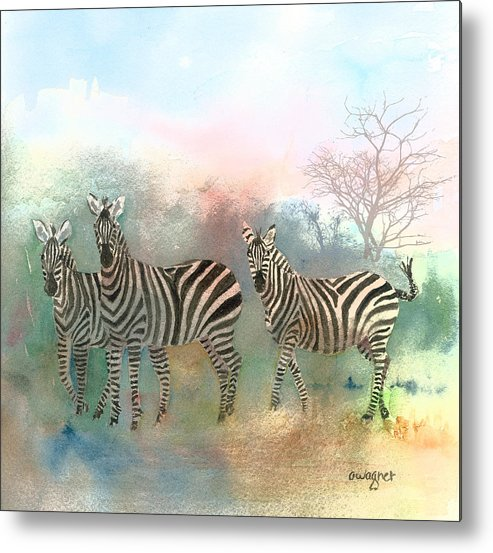 Zebras Metal Print featuring the painting Zebras In The Mist by Arline Wagner