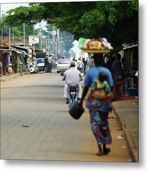 Trading Metal Print featuring the photograph African Street Scene by Peeterv