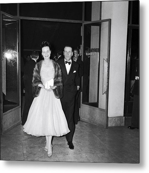 Georges Simenon Metal Print featuring the photograph Cannes Film Festival In 1957 by Gilbert Tourte