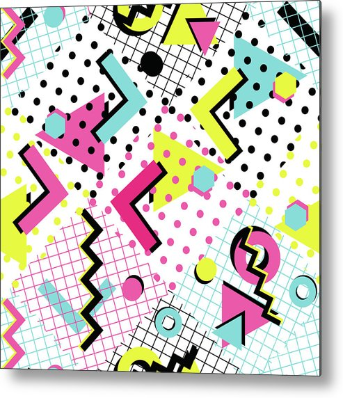 1980-1989 Metal Print featuring the digital art Colorful Abstract 80s Style Seamless by Alex bond