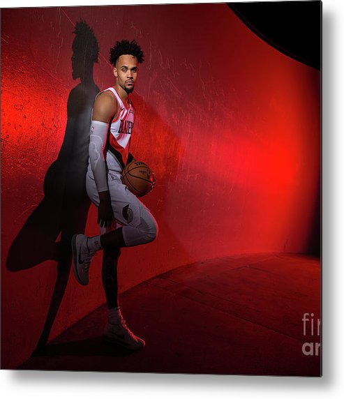 Media Day Metal Print featuring the photograph 2018-2019 Portland Trail Blazers Media by Sam Forencich