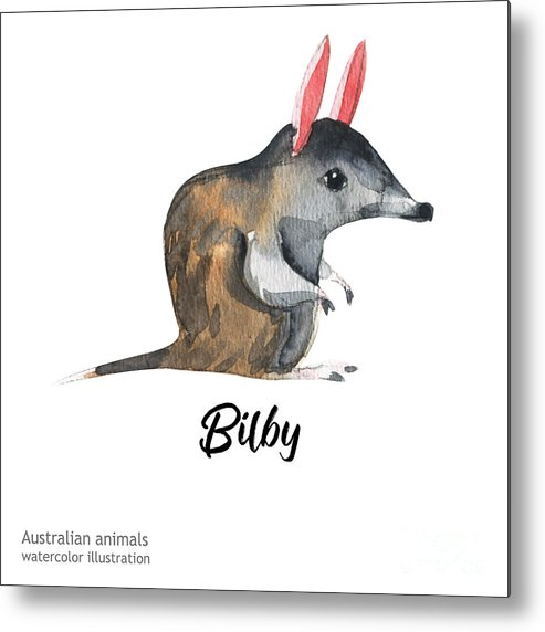 Forest Metal Print featuring the digital art Australian Animals Watercolor by Kat branches