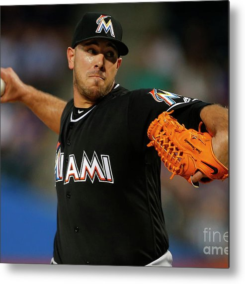 People Metal Print featuring the photograph Miami Marlins V New York Mets by Rich Schultz