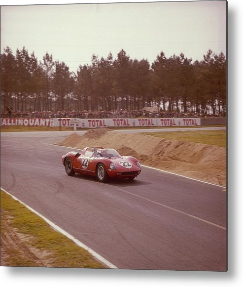 People Metal Print featuring the photograph A Ferrari 250 P At Le Mans, France by Heritage Images
