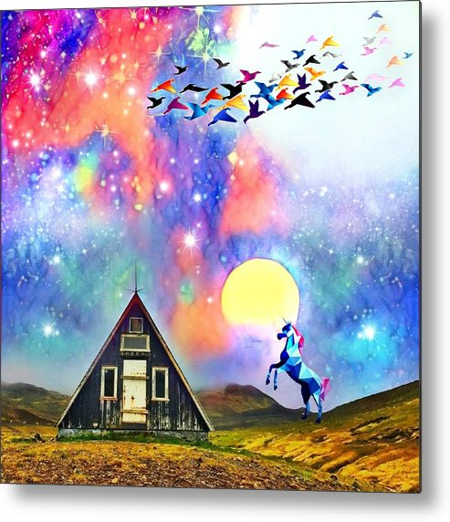 Metal Print featuring the digital art Abode of the Artificial-Dreamer Zero by Sureyya Dipsar