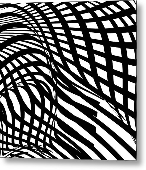 Curve Metal Print featuring the digital art Abstract Black And White Stripe Shape by Shuoshu