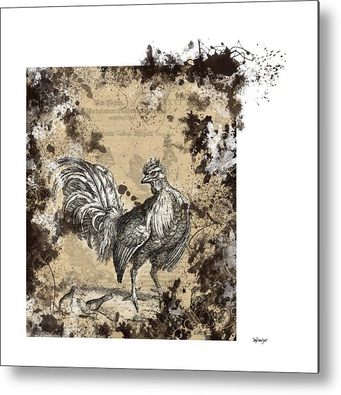 Antique Poultry Prints Grunge Modern Metal Print featuring the digital art Adam Lonitzer 1593, Barlow 1690 by Sigrid Van Dort
