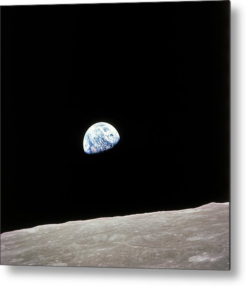 Timeincown Metal Print featuring the photograph Apollo 8 View Of Earth Rise Over The Moo by Time Life Pictures