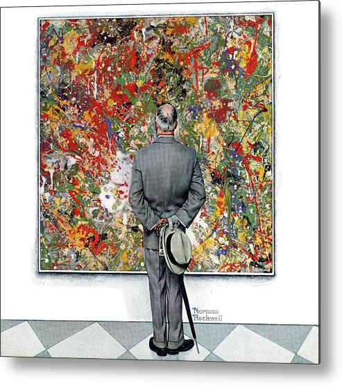 Art Metal Print featuring the drawing Art Connoisseur by Norman Rockwell