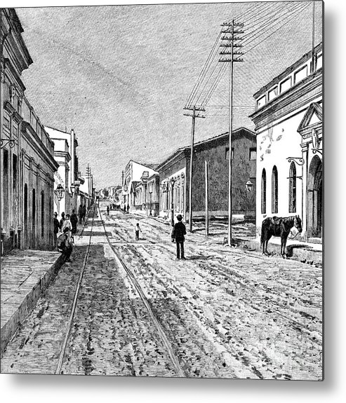 Engraving Metal Print featuring the drawing Asuncion, Paraguay, 1895 by Print Collector