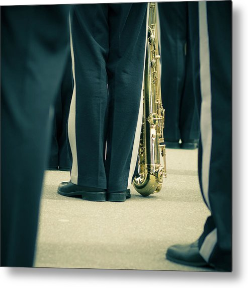 Versailles Metal Print featuring the photograph Backlegs Of Military Musician With by Boma.dfoto@gmail.com