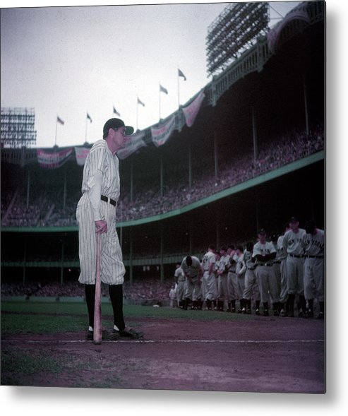 Crowd Metal Print featuring the photograph Baseball Great Babe Ruth, In Uniform by Ralph Morse