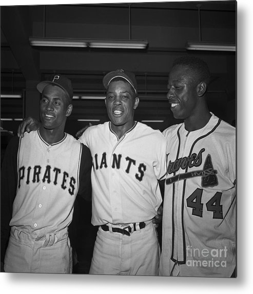 Candlestick Park Metal Print featuring the photograph Baseball Players Standing Together by Bettmann