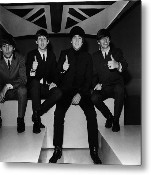 People Metal Print featuring the photograph Beatles Thumbs Up by Jim Gray
