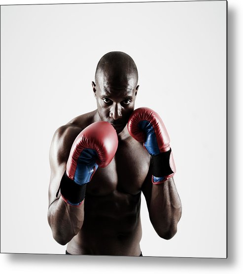 People Metal Print featuring the photograph Black Male Boxer In Boxing Stance by Mike Harrington