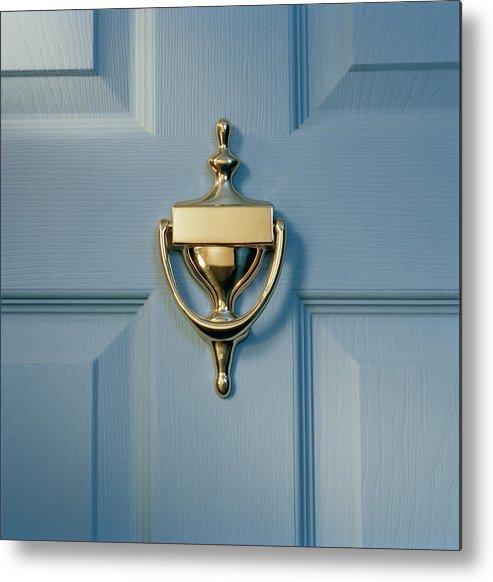 Brass Metal Print featuring the photograph Brass Door Knocker On Front Door by Gk Hart/vikki Hart