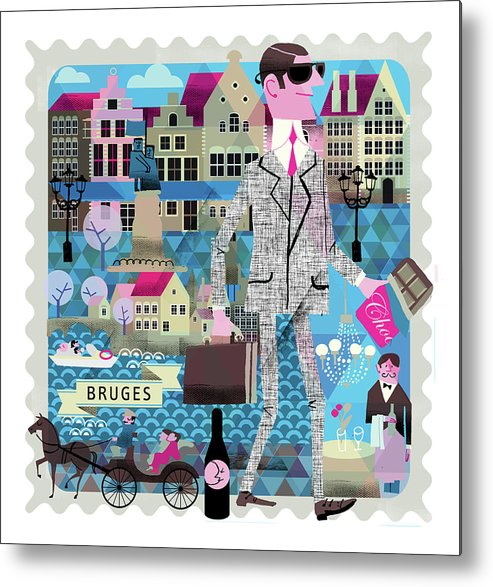 Belgium Metal Print featuring the digital art Bruges by Luciano Lozano