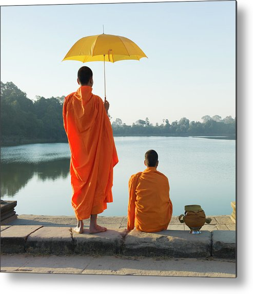 Young Men Metal Print featuring the photograph Buddhist Monks Standing In Front Of by Martin Puddy