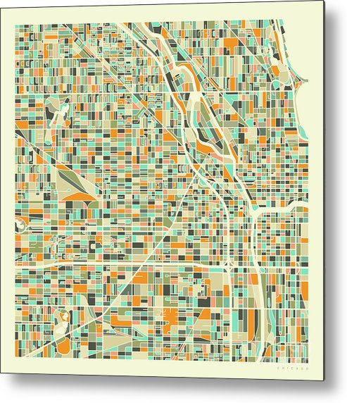 Chicago Metal Print featuring the digital art Chicago Map 1 by Jazzberry Blue