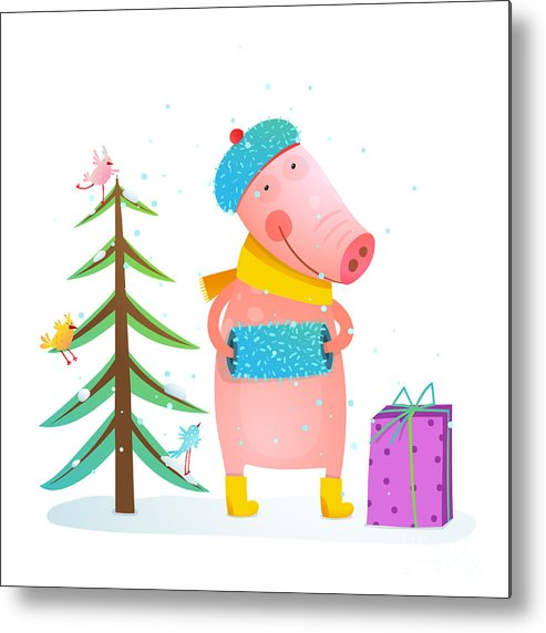 Gift Metal Print featuring the digital art Childish Cheerful Little Pig In Winter by Popmarleo