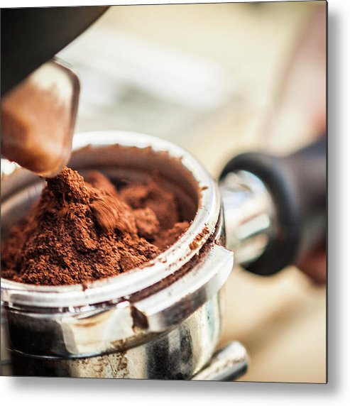 Mature Adult Metal Print featuring the photograph Close Up Of Espresso Grounds In Machine by Manuel Sulzer
