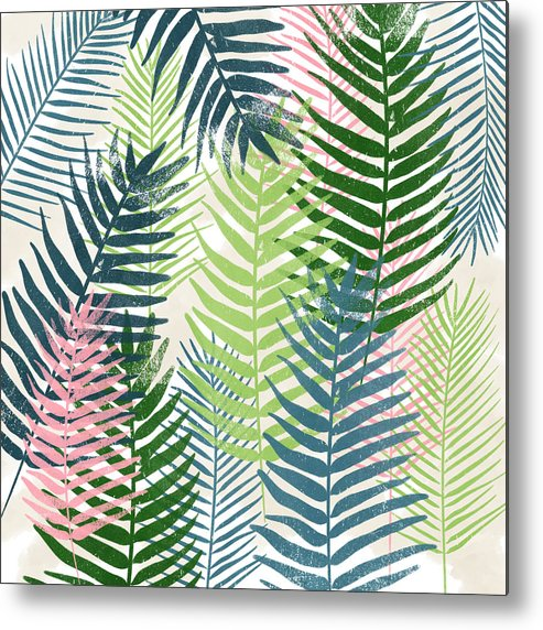 Tropical Metal Print featuring the mixed media Colorful Palm Leaves 2- Art by Linda Woods by Linda Woods