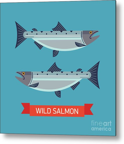 Symbol Metal Print featuring the digital art Cool Vector Wild Salmon Fish Icon In by Mascha Tace