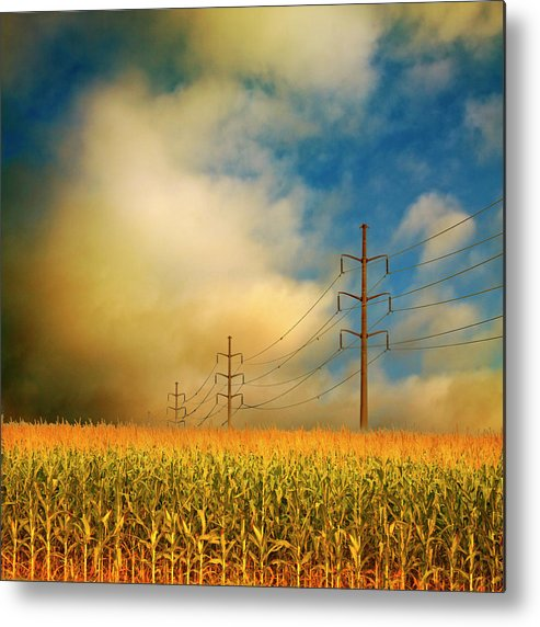Electricity Pylon Metal Print featuring the photograph Corn Field At Sunrise by Photo By Jim Norris
