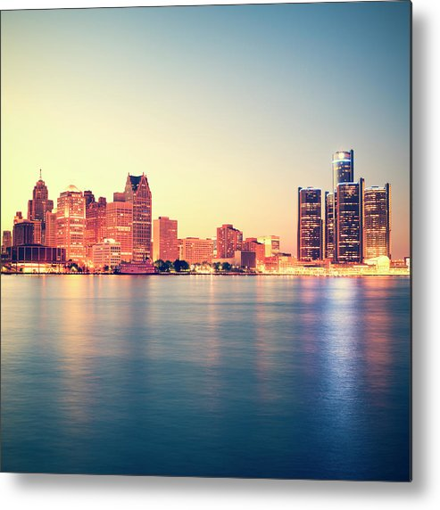 Downtown District Metal Print featuring the photograph Detroit At Sunset by Espiegle